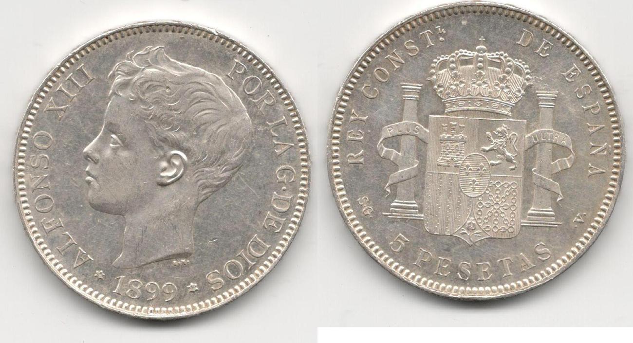 5 pESETAS 1899 SVG sPAIN UNZ