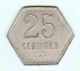 25 Centimes Token 1920 Reunion funz