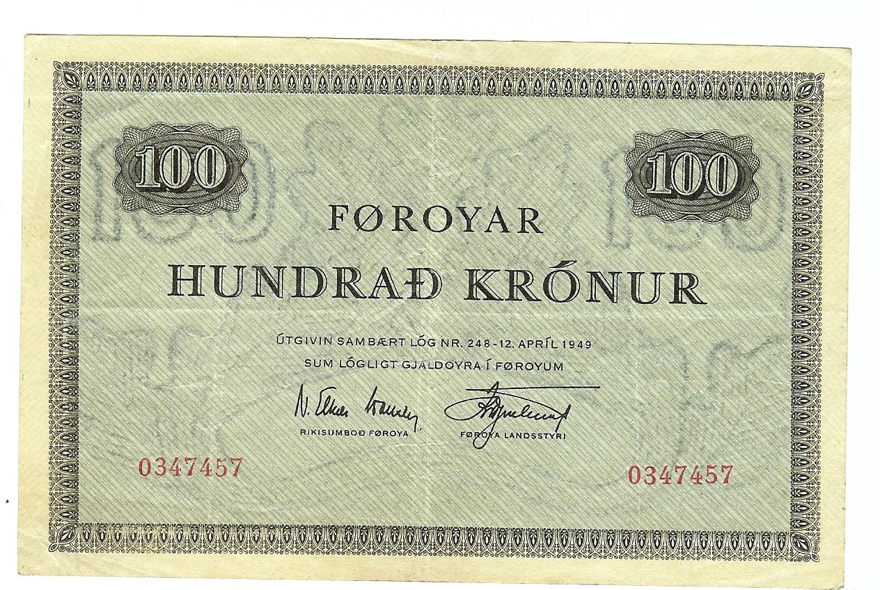 100 Kroner 1952-63 Faroe Islands ss+