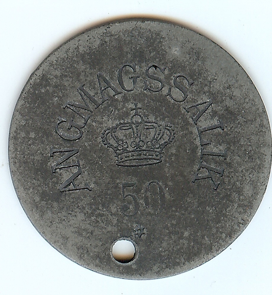 50 Øre token with hole 1894-1926 Greenland Angmassalik ss