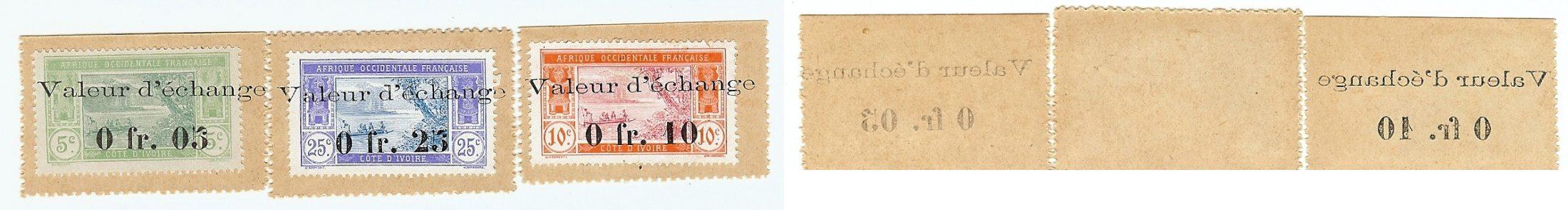0,05,0,010,0,025 Francs 1920 Ivory Coast unz