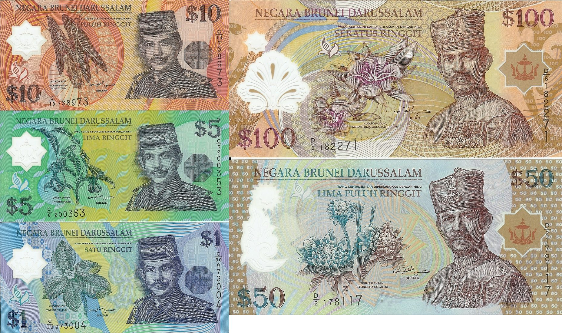 1,5,10,50,100 Ringgit nd Brunei unz