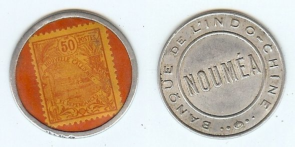 50 Centimes encased stamp (1922) New Caledonia gebraucth