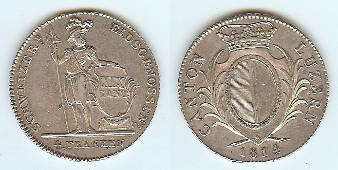 4 Franken 1814 Switzerland Luzern vz