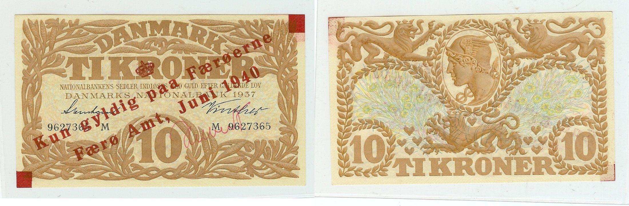 10 Kroner 1937 Faeroe Islands kfr