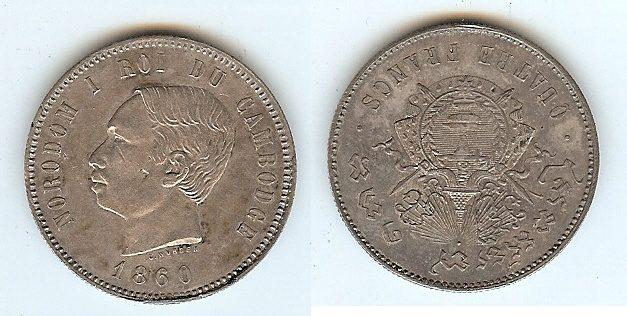4 Francs 1860 Cambodia unz