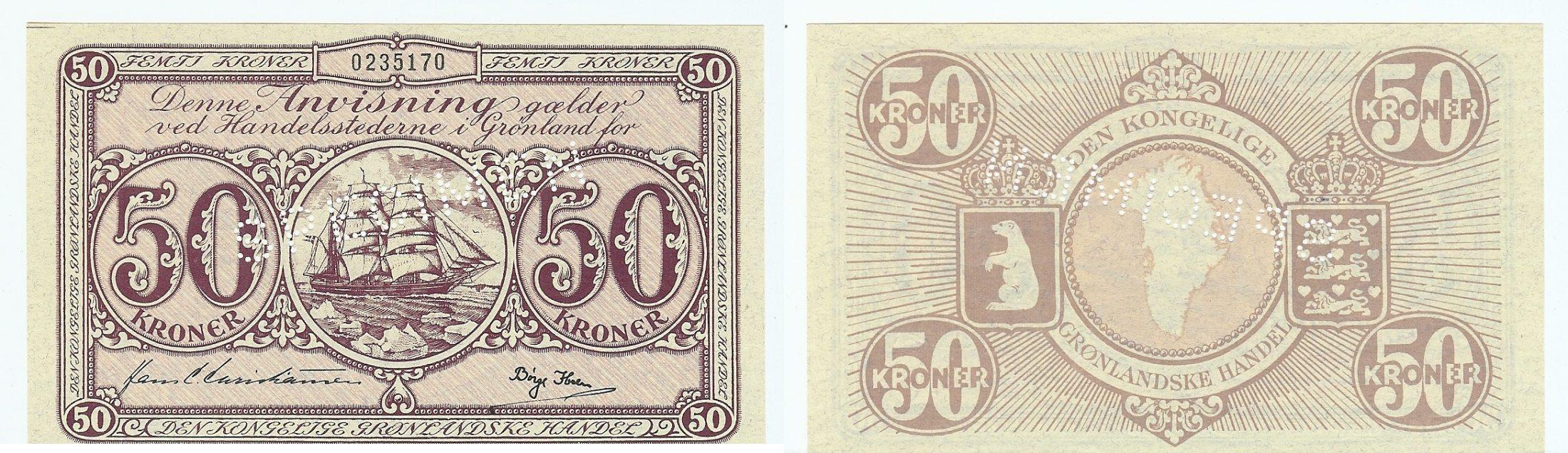 50 Kroner specimen 1953 Greenland bfr