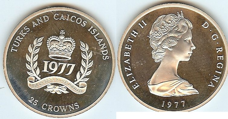 25 Crowns 1977 Turks & Caicos Islands pp