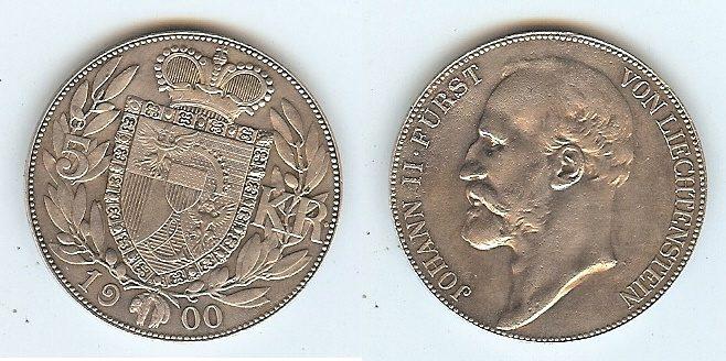 5 Kronen 1900 Liechtenstein vz