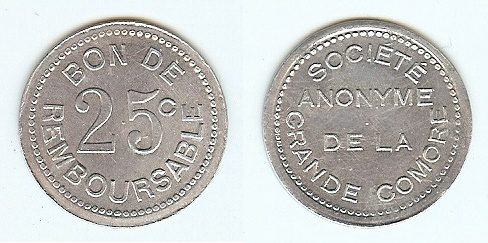 25 Centimes nd(1915) Comores funz