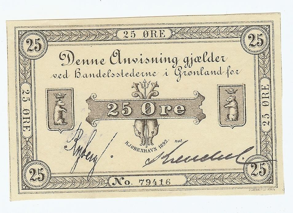 25 Øre 1892 Greenland unz-