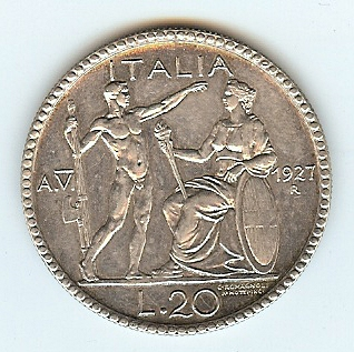 20 Lire 1927 Italy fstgl