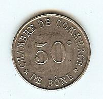 """50 Centimes token nd(1915) Algeria """"Bone# unz"""