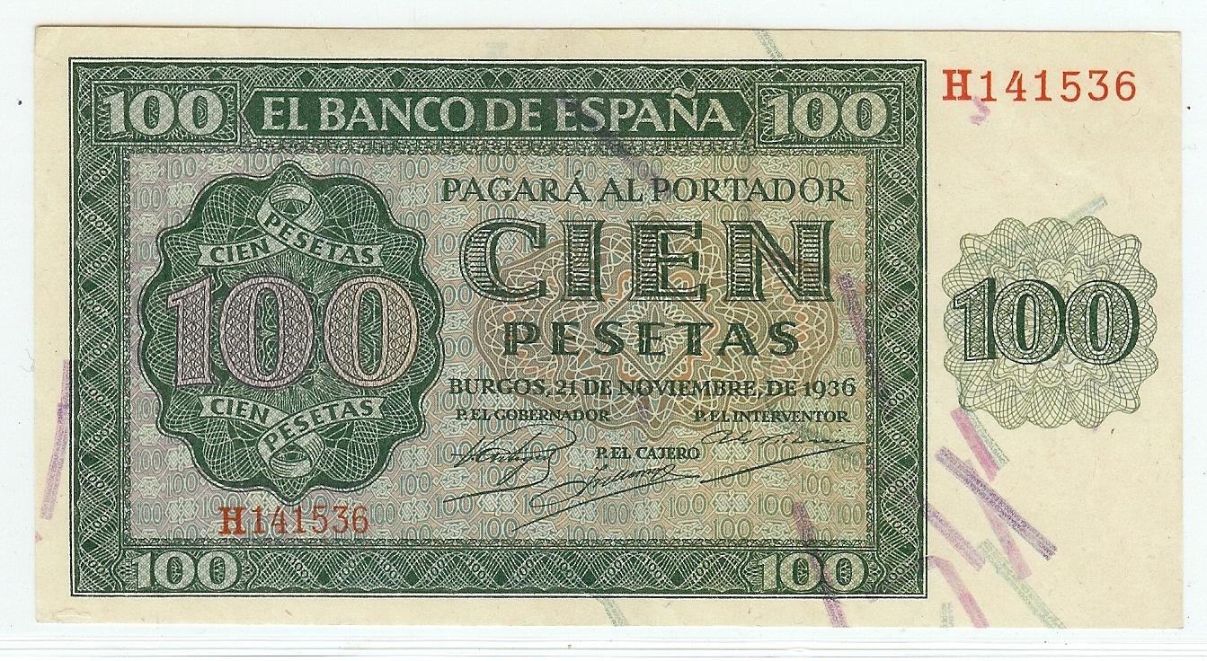100 Pesetas 1936 Spain kfr