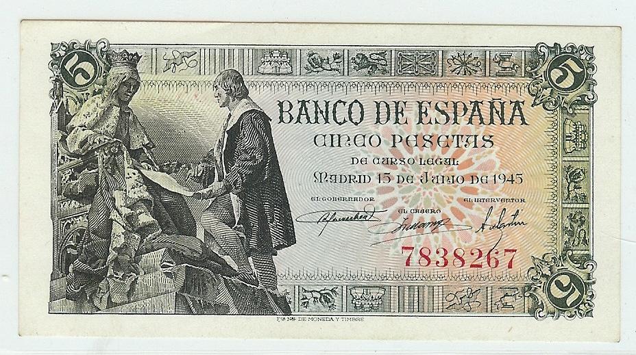 5 Pesetas 1945 Spain unz