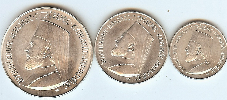 3,6,12 Pounds Makarios 1974 Cyprus unz