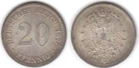 20 Pfennig 1876 F Kaiserreich  vorzüglich - Stempelglanz  30,00 EUR  +  5,00 EUR shipping