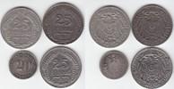 20 & 25 Pfennig 1875-1911 Kaiserreich 1875 C, 1910 F und 1911 A (4 Stüc... 30,00 EUR  +  5,00 EUR shipping