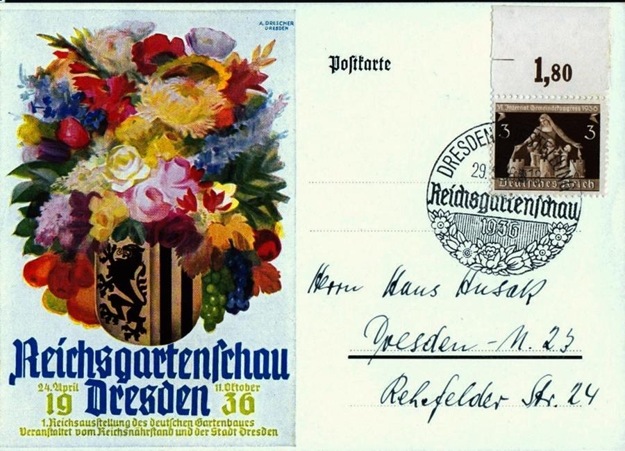 Deutsches Reich Karte.1936 Deutsches Reich Karte Zur Reichsgartenschau Dresden I