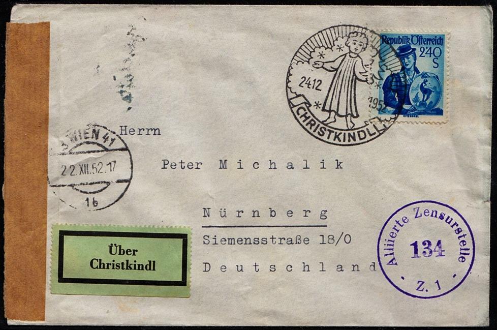 1952 österreich Christkindl Sonderstempel Vom 241252 Auf