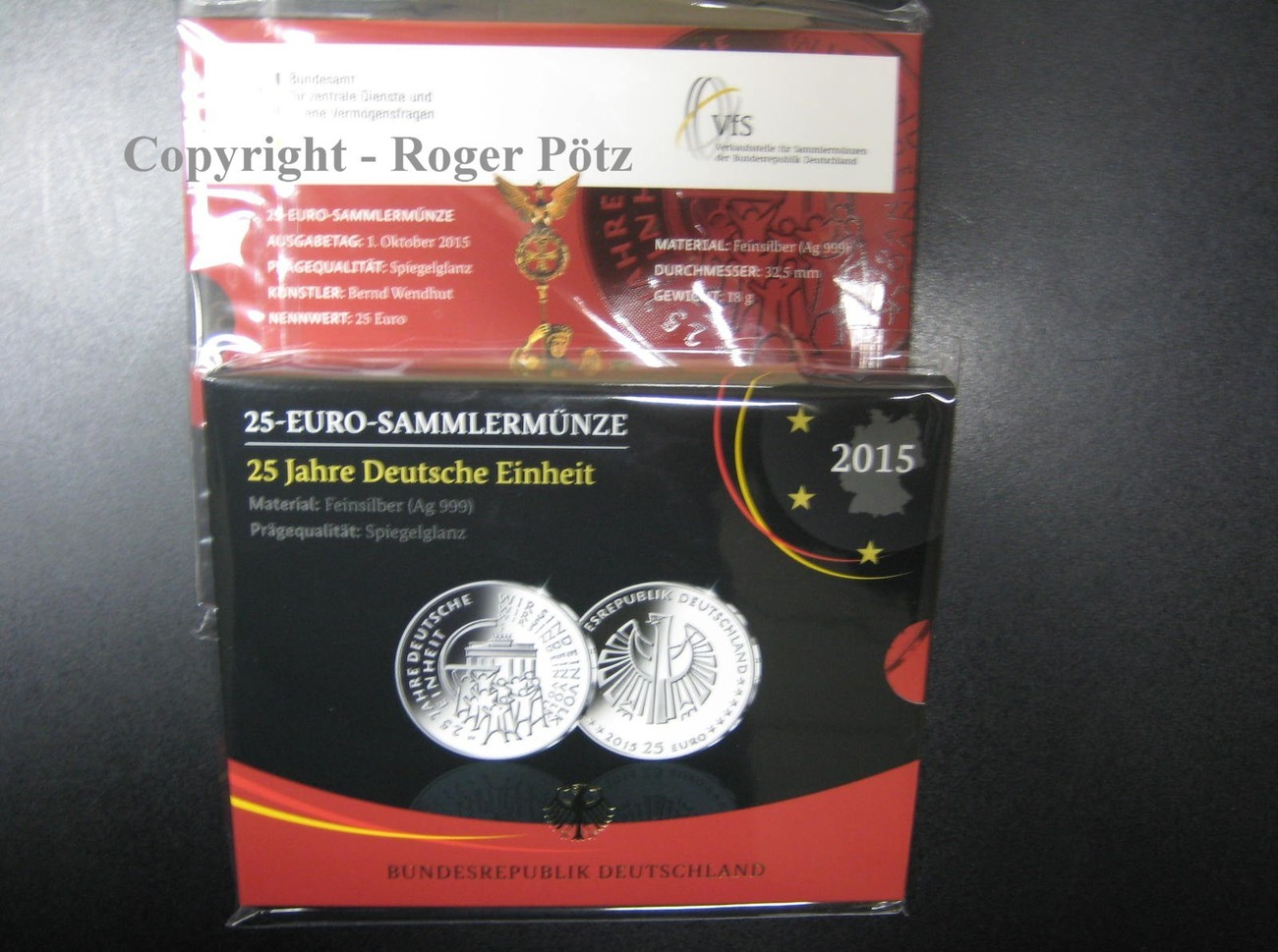 25 Euro 2015 BR DEUTSCHLAND 25 Euro 2015 Deutsche Einheit Silber PP im Originalfolder Prägestätte G Spiegelglanz ( PP )