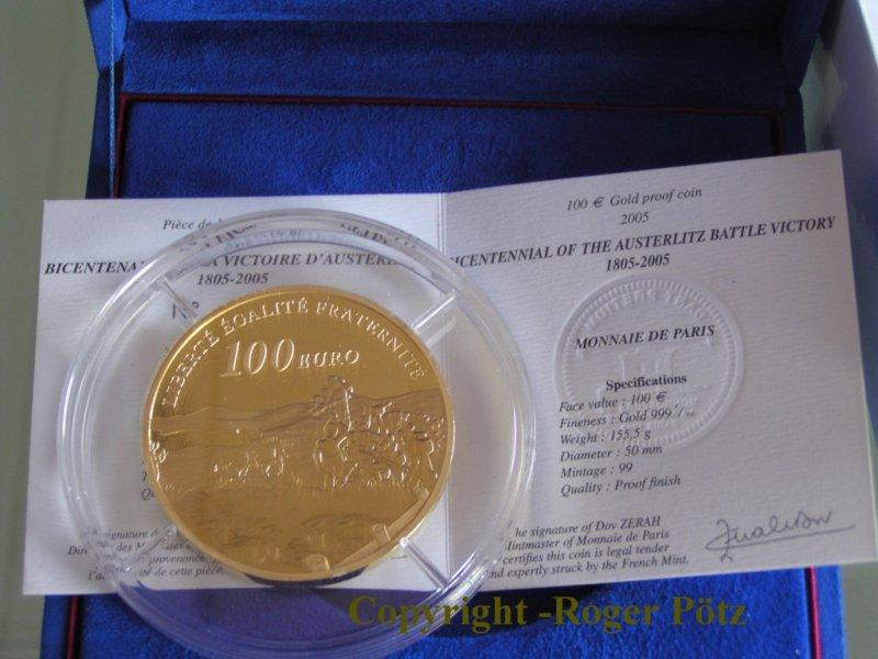 100 Euro 2005 Frankreich 100 Euro 2005 Schlacht von Austerlitz - nur 76 Ex. Auflage PP ( polierte Platte )