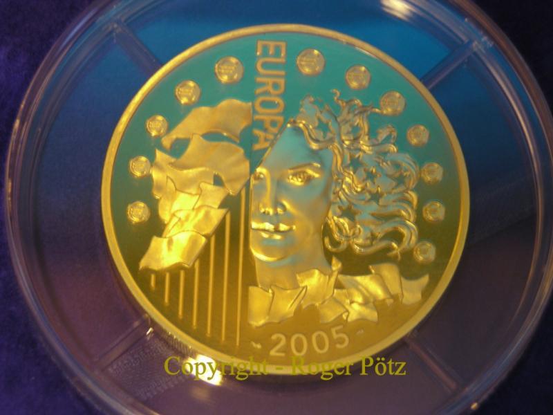100 Euro 2005 Frankreich 100 Euro 2005 PP Europa Flagge blaues Gold 5 oz nur 99 Ex. PP ( polierte Platte )