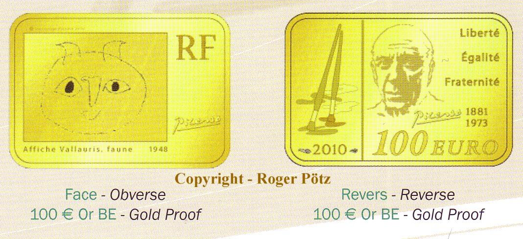 100 Euro 2010 Frankreich 100 Euro 2010 Pablo Picasso Gold PP nur 500 Ex. Auflage PP