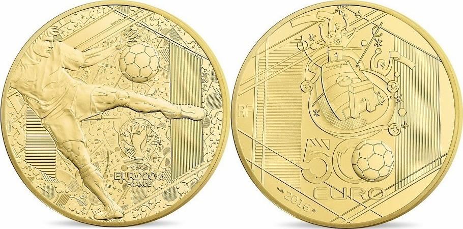 500 Euro 2016 FRANKREICH 500 Euro 5 Unzen Gold 2016 UEFA Europameisterschaft PP PP ( polierte Platte )