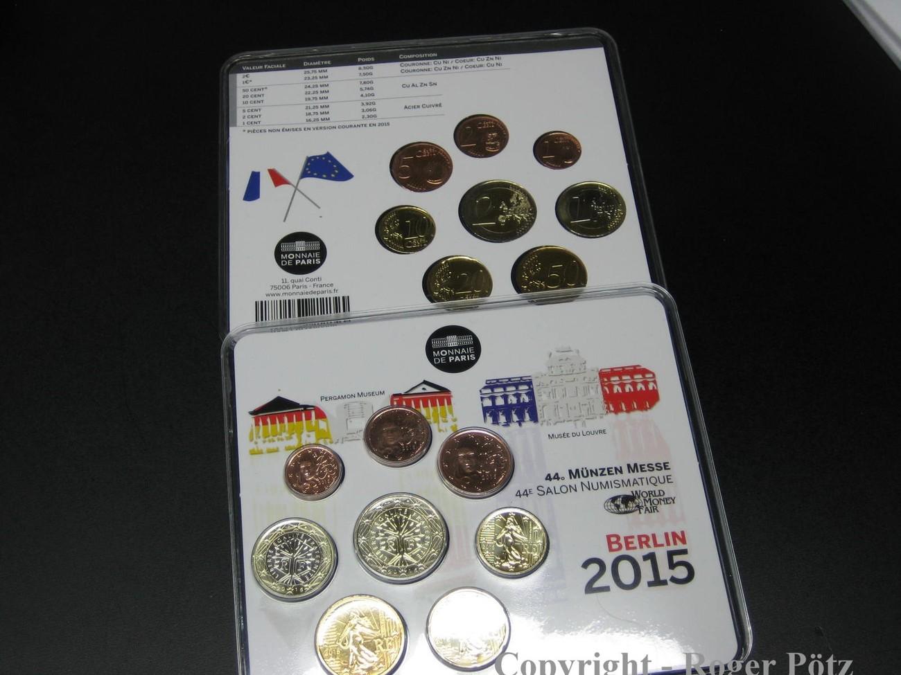 3,88 Euro 2015 FRANKREICH 3,88 Euro 2015 Miniset Kursmünzensatz KMS World Money Fair WMF Berlin stempelglanz