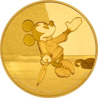 "2,50 Dollar 2016 NIUE 2,50 $ 2016 Niue Mickey Mouse 2. Ausgabe "" Schneiderlein "" Gold PP Coincard PP ( polierte Platte )"