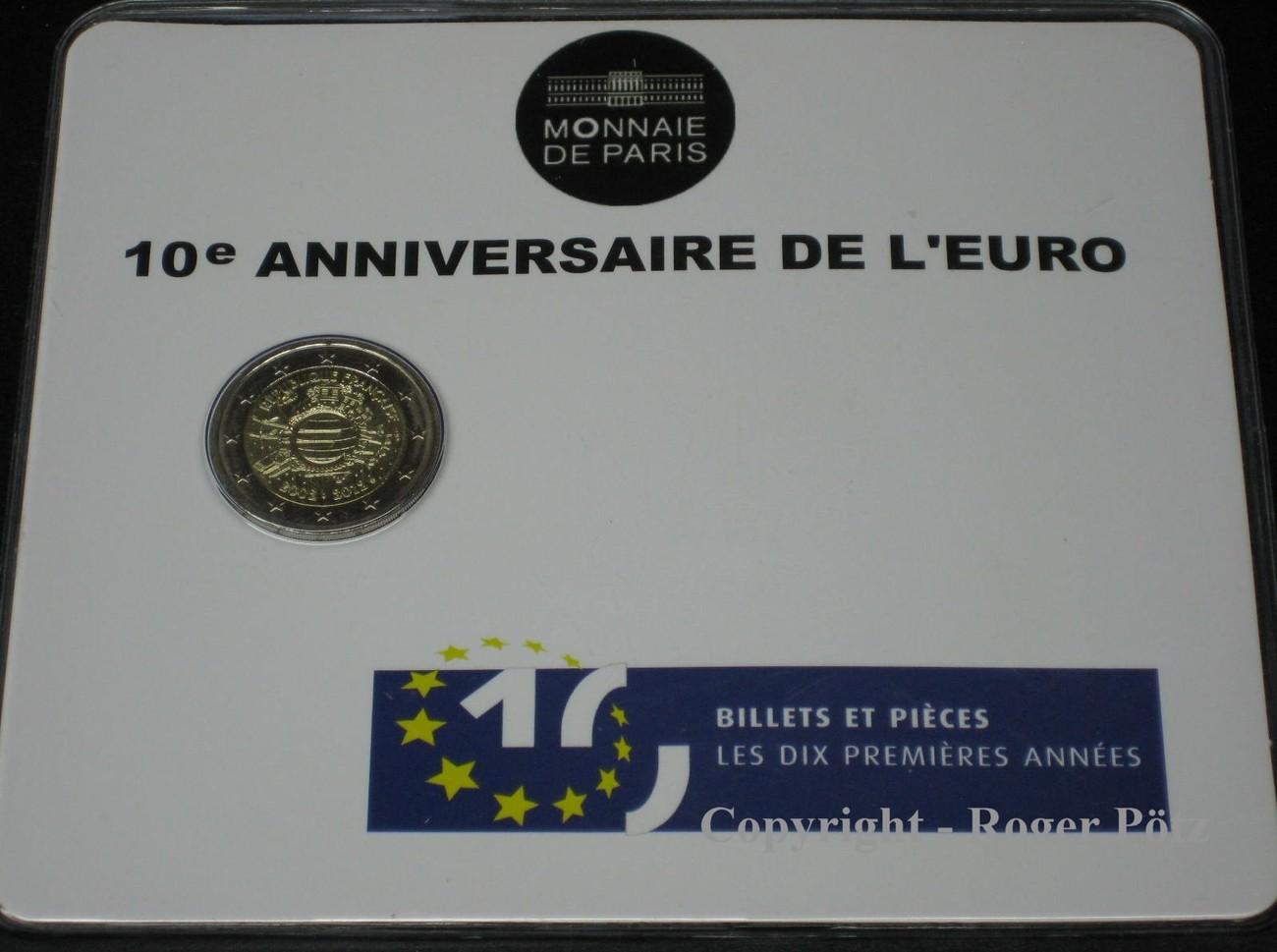 2 Euro 2012 FRANKREICH 2 Euro 2012 10.Jahrestag Euro Bargeld im Original Blister stempelglanz