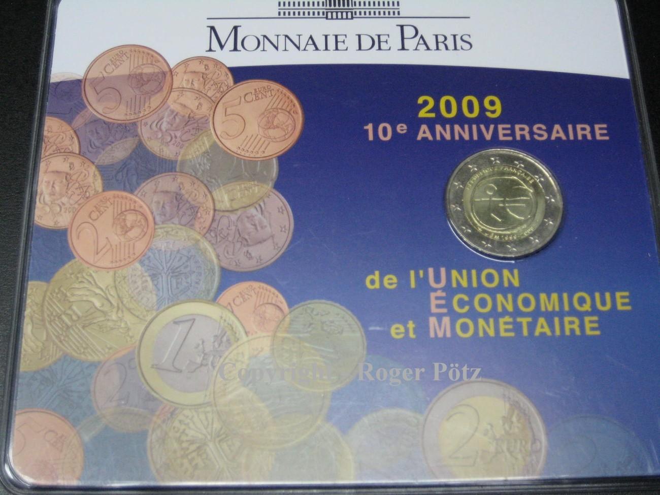 2 Euro 2009 FRANKREICH 2 Euro 2009 Währungsunion 10. Jahrestag im Blister OVP stempelglanz