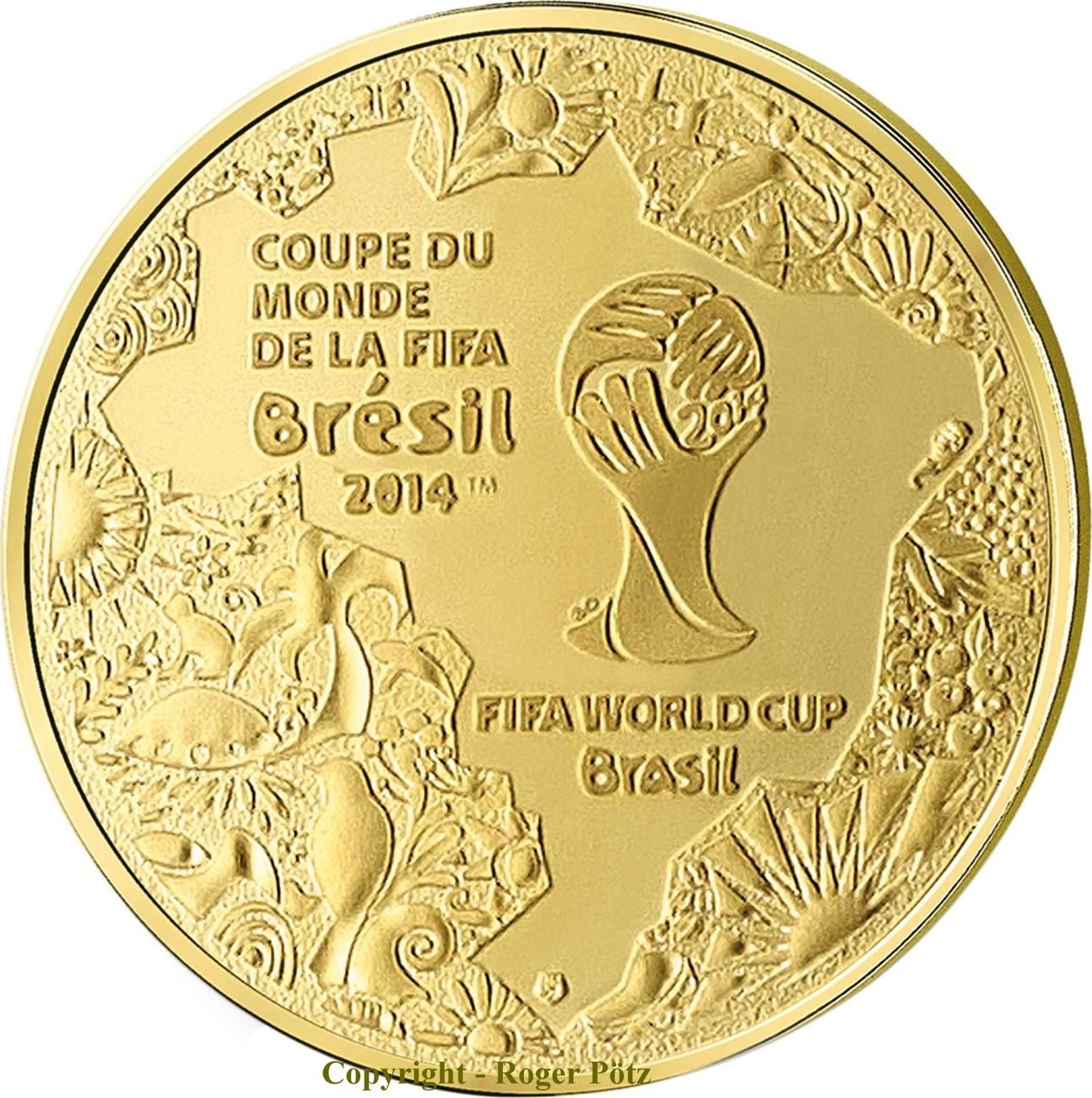 5 Euro 2014 FRANKREICH 5 Euro 2014 Gold FIFA Fussball WM Brasilien PP OVP Weltmeister Deutschland polierte Platte ( PP )