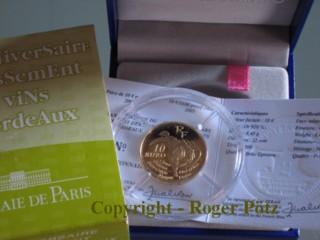 10 Euro 2005 Frankreich 10 Euro 2005 Bordeaux Weine - nur 500 Ex. Auflage PP ( polierte Platte )