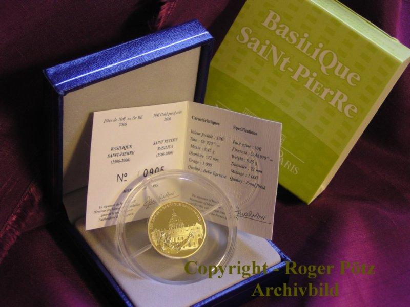 10 Euro 2006 Frankreich 10 Euro 2006 Petersdom Papst Benedikt Gold PP - nur 1.000 Ex. Auflage PP ( polierte Platte )
