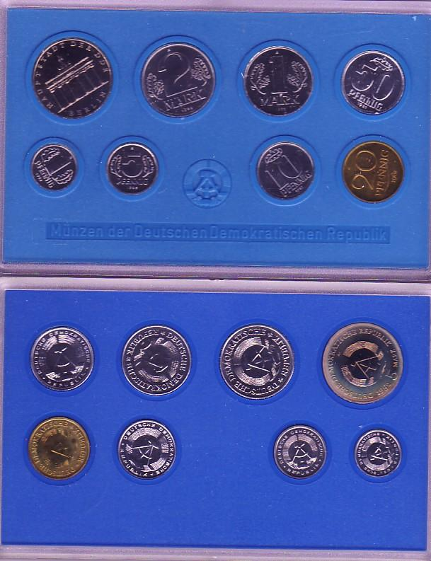8,86 Euro 1982 DDR Kursmünzensatz DDR KMS 1982 1 Pfg. - 5 Mark mit Brand. Tor st st