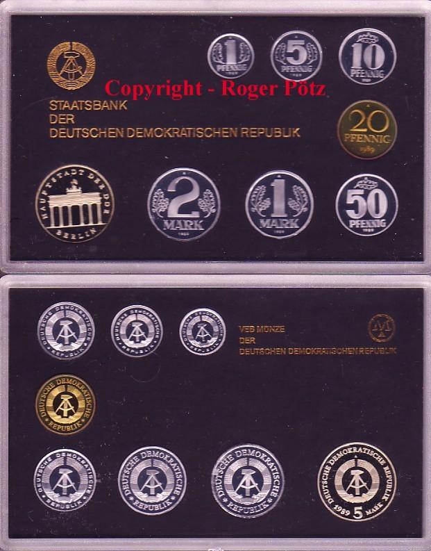 8,86 Mark 1989 DDR KMS Kursmünzensatz 1989 DDR PP nur 2.300 Ex. Auflage polierte Platte