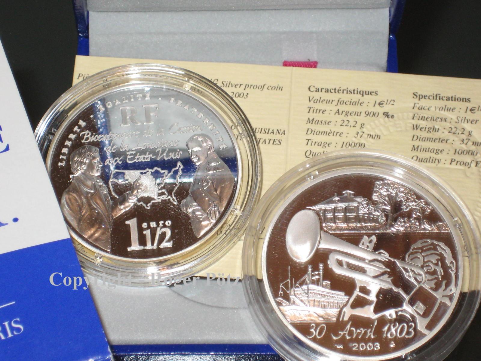 1,50 Euro 2003 Frankreich 1,50 Euro 2003 Silber PP Napoleon verkauft Louisiana - selten - PP