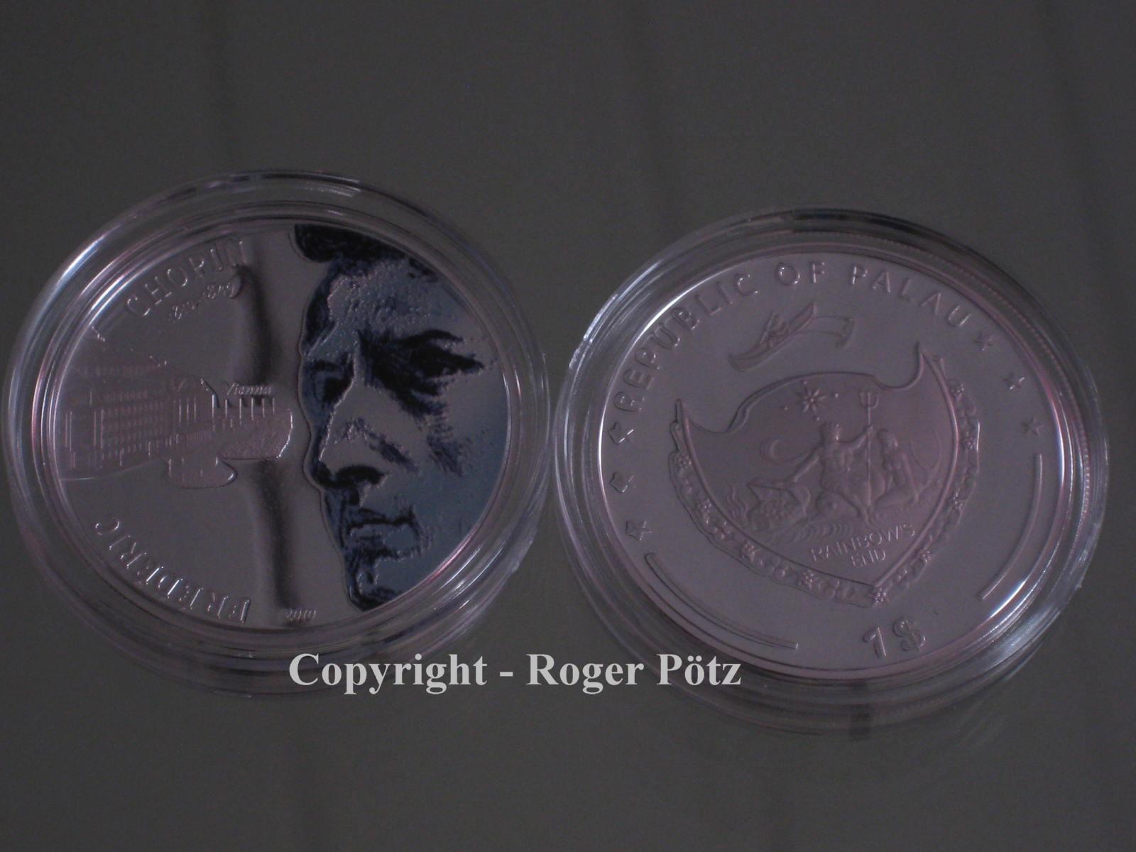 1 Dollar 2010 Palau 1 $ Palau 2010 Chopin in Wien PP Hologramm nur 999 Exemplare PP ( polierte Platte )