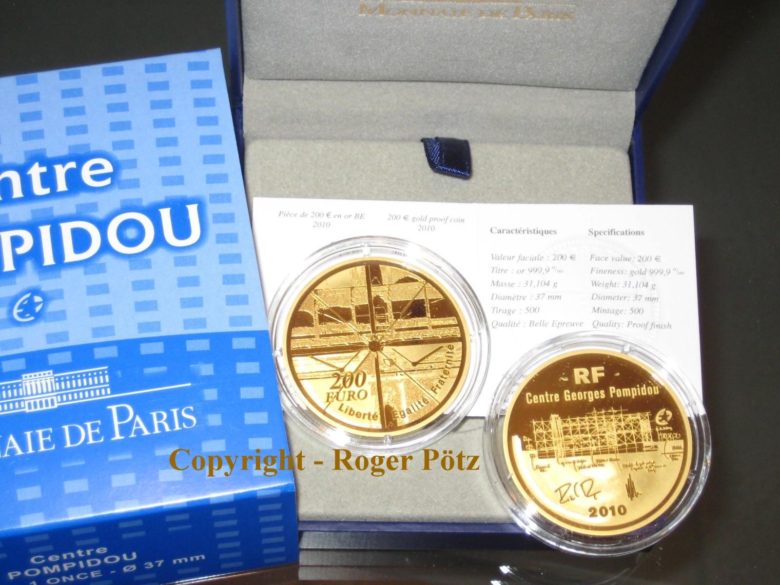 200 Euro 2010 Frankreich 200 Euro Frankreich 2010 Centre Pompidou 1 Unze Feingold nur 364 Ex Auflage PP