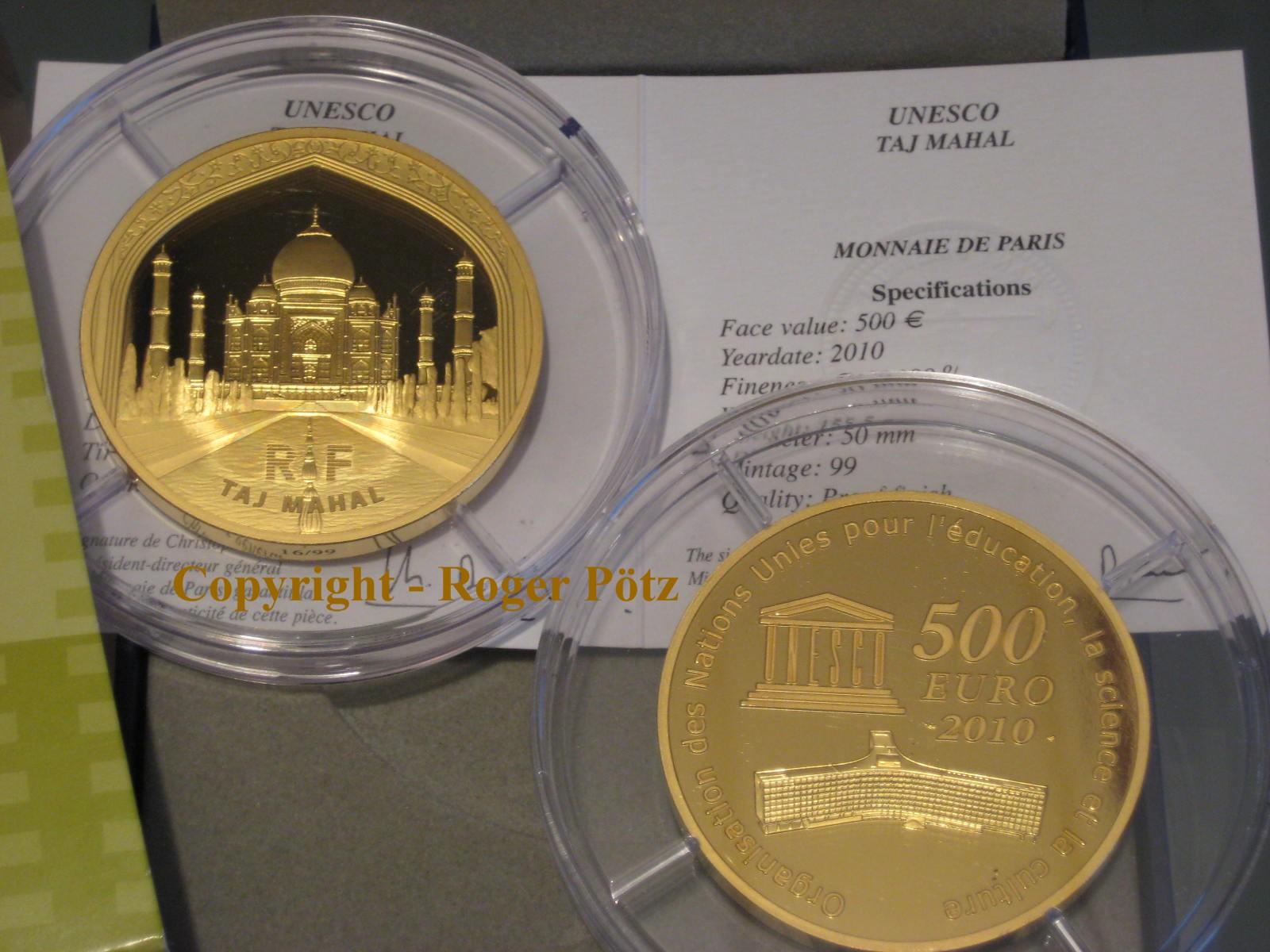 500 Euro 2010 Frankreich 500 Euro 2010 5 Unzen Fein Gold Taj Mahal UNESCO Serie nur 99 Ex. Auflage PP ( proof )