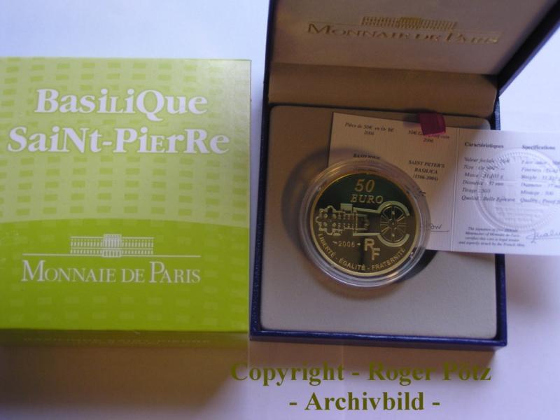 50 Euro 2006 Frankreich 50 Euro 2006 Papst Benedikt Petersdom Gold PP nur 500 Ex. Auflage ! PP ( polierte Platte ) Belle Epreuve