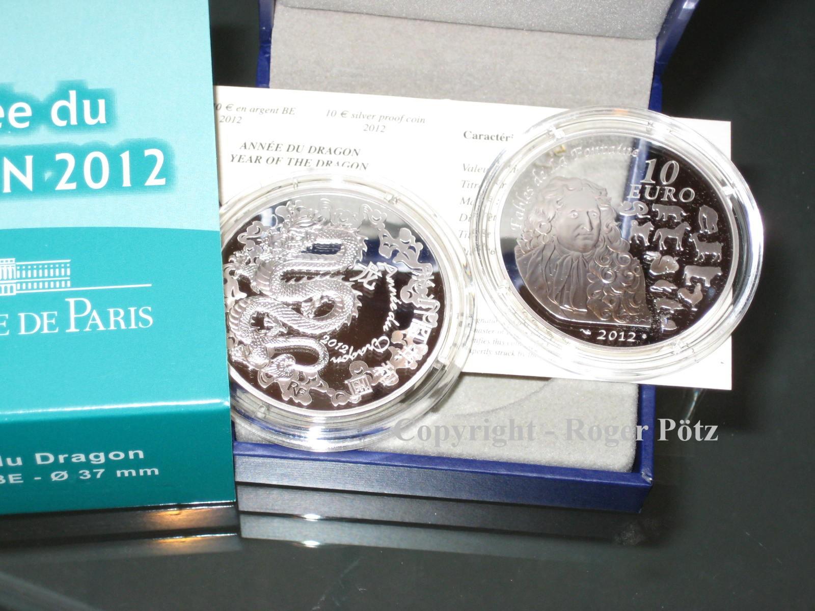 10 Euro 2012 FRANKREICH 10 Euro 2012 Jahr des Drachens Silber PP PP ( proof )