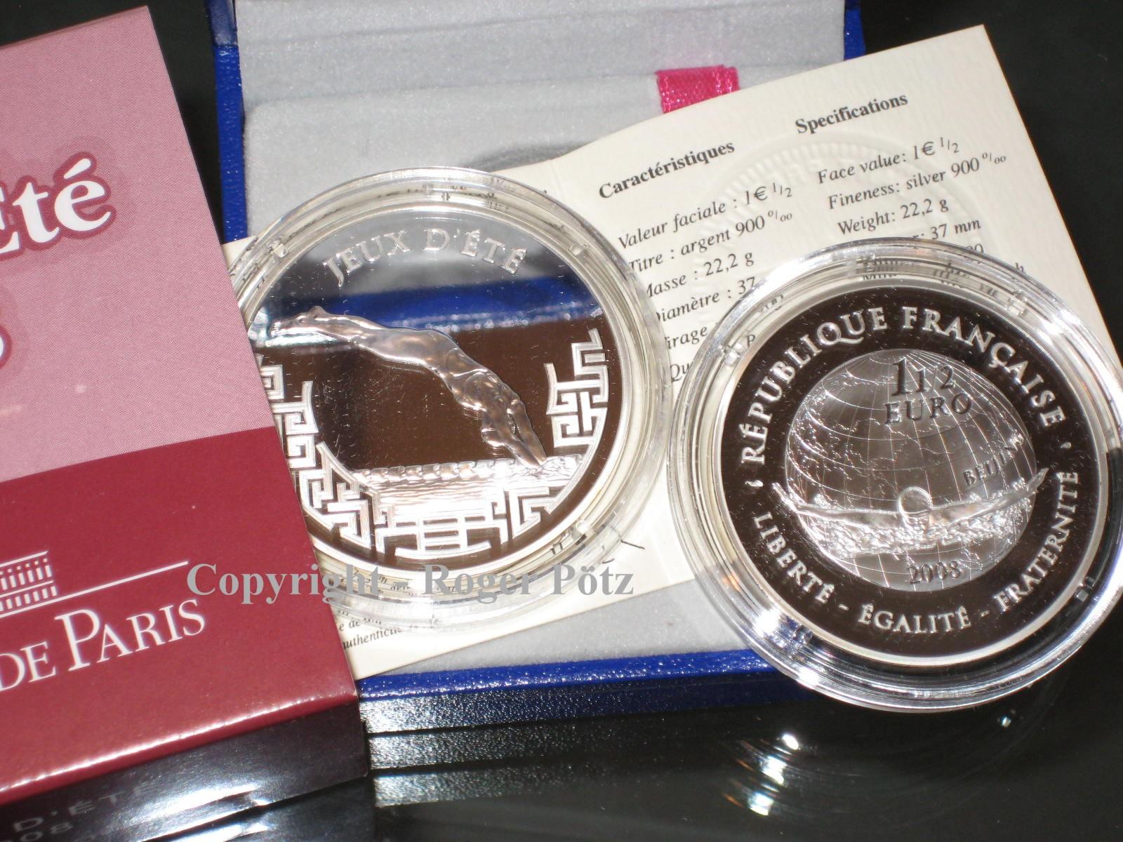 1,50 Euro 2008 FRANKREICH 1,50 Euro Olympiade Peking Schwimmen Silber PP PP ( proof )