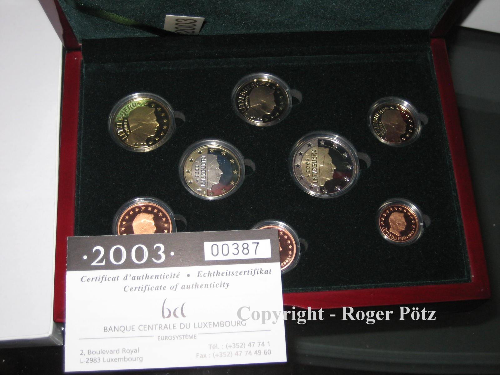 3,88 Euro 2003 LUXEMBURG 3,88 Euro KMS Kursmünzensatz Luxemburg 2003 PP nur 1500 Ex. Auflage PP