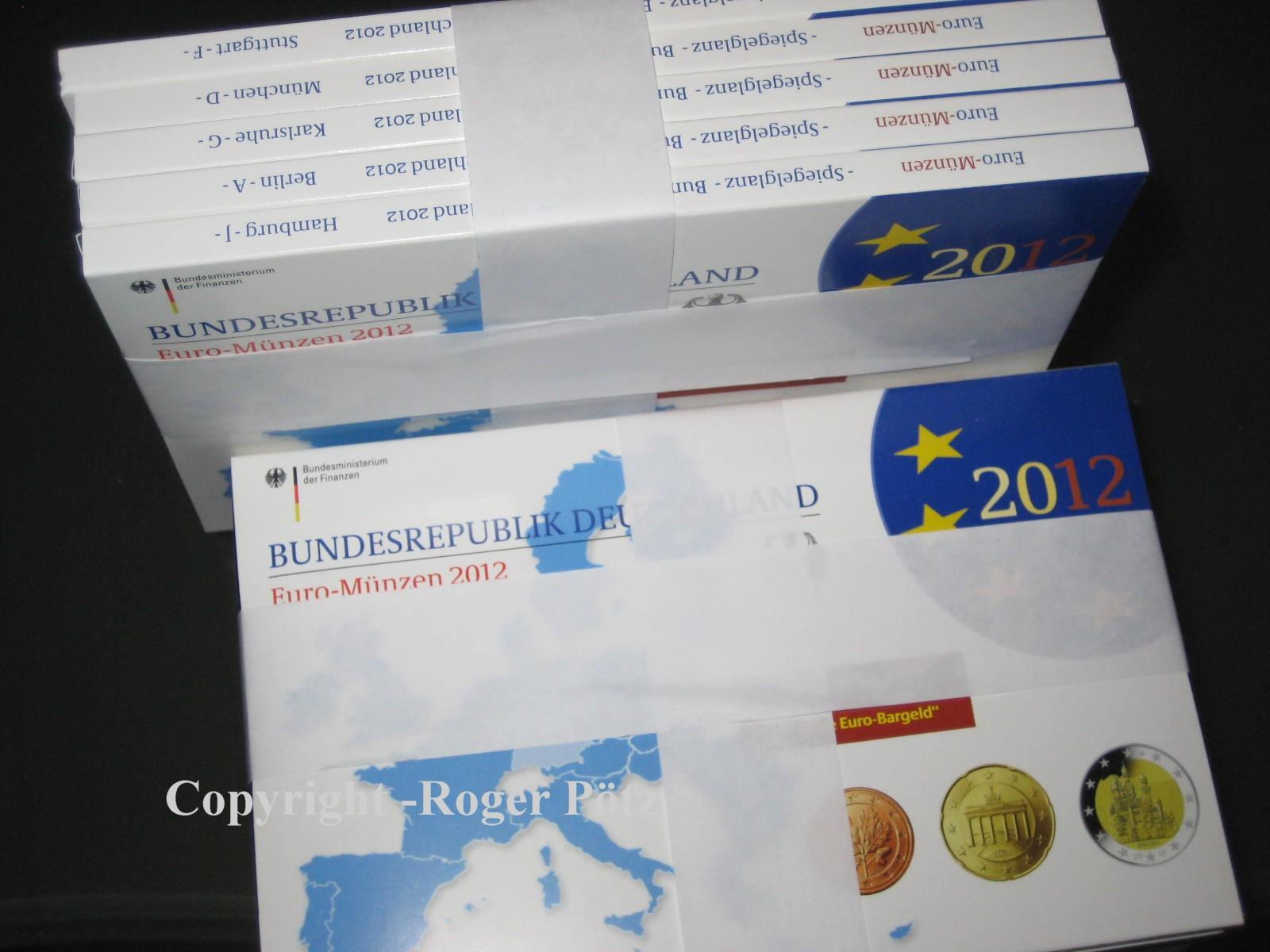 5 x 5,88 Euro 2012 BRD 5 x 5,88 Euro BRD Kursmünzensätze A,D,F,G,J 2012 in Spiegelglanz Spiegelglanz ( PP )