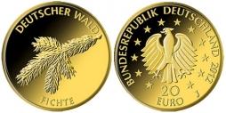 5 x 20 Euro 2012 BRD 5 x 20 Euro 2012 Deutscher Wald  Die Fichte  alle Prägestätten A D F G J stempelglanz