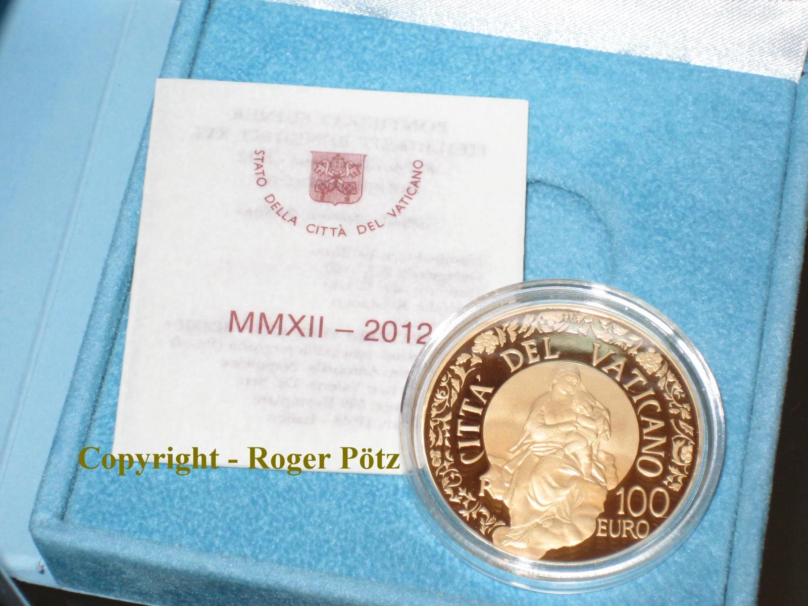 100 Euro 2012 Vatikan 100 Euro Gold Vatikan 2012 PP original nur 999 Exemplare proof