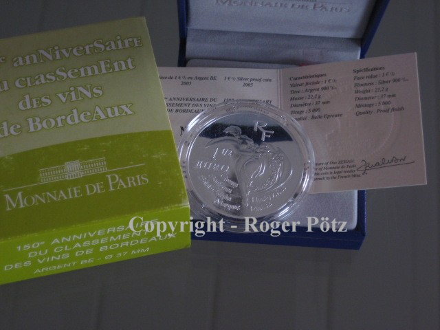 1,50 Euro 2005 FRANKREICH 1,50 Euro Bordeaux Weine Silber PP 2005 nur 2.882 Ex Auflage PP